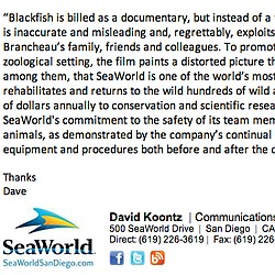 "Sea World's Statement Regarding ""Blackfish"" Doc..."