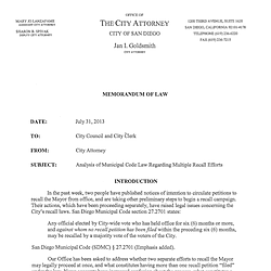 City Attorney Memo on Recalls