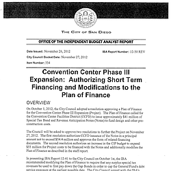 IBA Report on Convention Center Expansion
