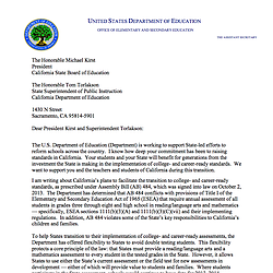 Dept. Of Education Letter On California Testing Plan