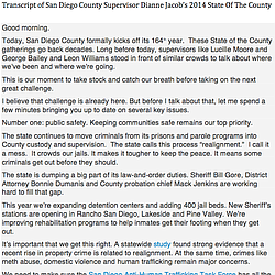 Transcript Of 2014 State Of The County Address
