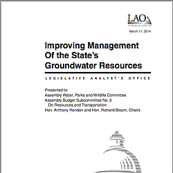 LAO Report: Improving Management Of The State's Groundwater Resources