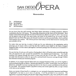 Original Memorandum To Staff About Closure