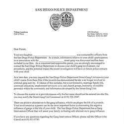 San Diego Police Gang Notification Letter