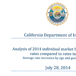 Analysis of 2014 Individual Market Health Insurance Rates Compared to Rates in 2013
