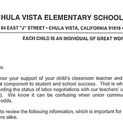 Chula Vista Elementary Superintendent Letter to Parents