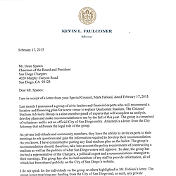 Mayor Kevin Faulconer's Letter To Dean Spanos