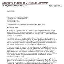 Letter from Assemblyman Anthony Rendon