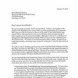 Letter Lizbeth Ecke and Bob Ayers sent to corporate board of YMCA of San Diego County