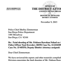 DA Letter Regarding Midway Shooting