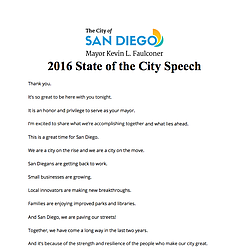 Mayor Faulconer's 2016 State Of The City Speech
