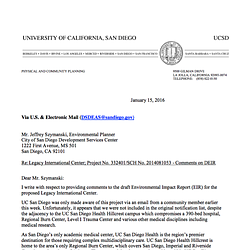 UCSD Comment Letter on Legacy International Center
