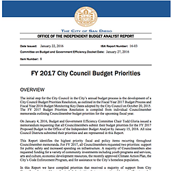 City Council Budget Priorities