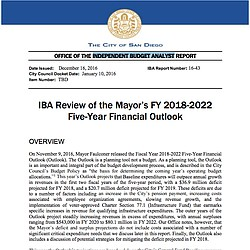 Independent Budget Analyst's Review of Mayor Faulconer's Five-Year Financial Outlook