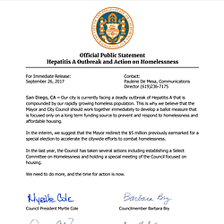Official Public Statement Hepatitis A Outbreak and Action on Homelessness