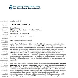 Letter to Metropolitan Water District