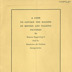 A Code to Govern the Making of Motion and Talki...
