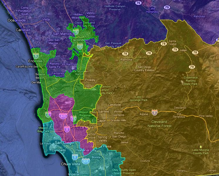 Camp Pendleton Zip Code Map.District Map San Diego County Board Of Supervisors Kpbs