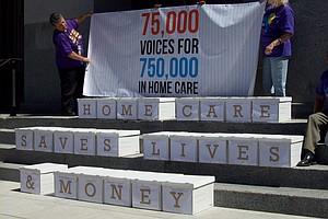 Care Workers Rally as Calif. Budget Talks Continue