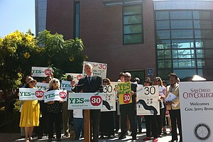 Gov. Brown Makes 'Yes on 30' Campaign Stop In San Diego