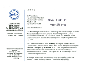 Tease photo for Imperial Valley, Other Southern California Colleges Given Accreditation Warning
