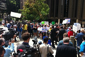 Supporters Of Mayor Bob Filner Rally For Due Process