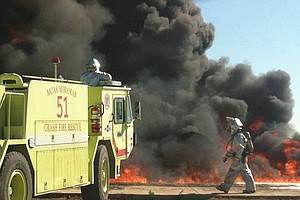 Tease photo for Mirarmar Air Station Firefighters Train Against Jet Fuel Flames