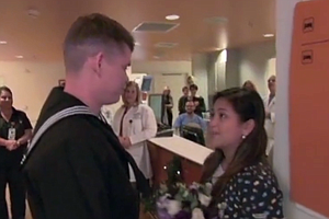 San Diego Nurse Gets Surprise Proposal From Navy Corpsman...