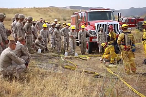 Tease photo for Camp Pendleton Marines Learn Firefighting Skills Ahead Of Wildfire Season (Video)