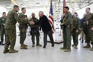 Tease photo for Hagel Visits San Diego In Farewell Tour To Promote Next-Gen Bomber