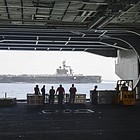 The aircraft carrier and its escort ships, which left the Middle East on Friday, have been targeting ISIS for the past six months.