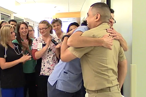 Tease photo for Paralyzed Navy Officer Surprises Sharp Hospital Nurse By Walking