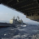 The 567-foot vessel, which will be based at Yokosuka, recently completed a modernization program, and now has the Navy's most advanced air and missile defense system.