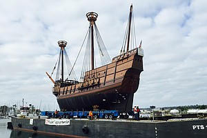 San Salvador Replica Floats To South Bay Shipyard