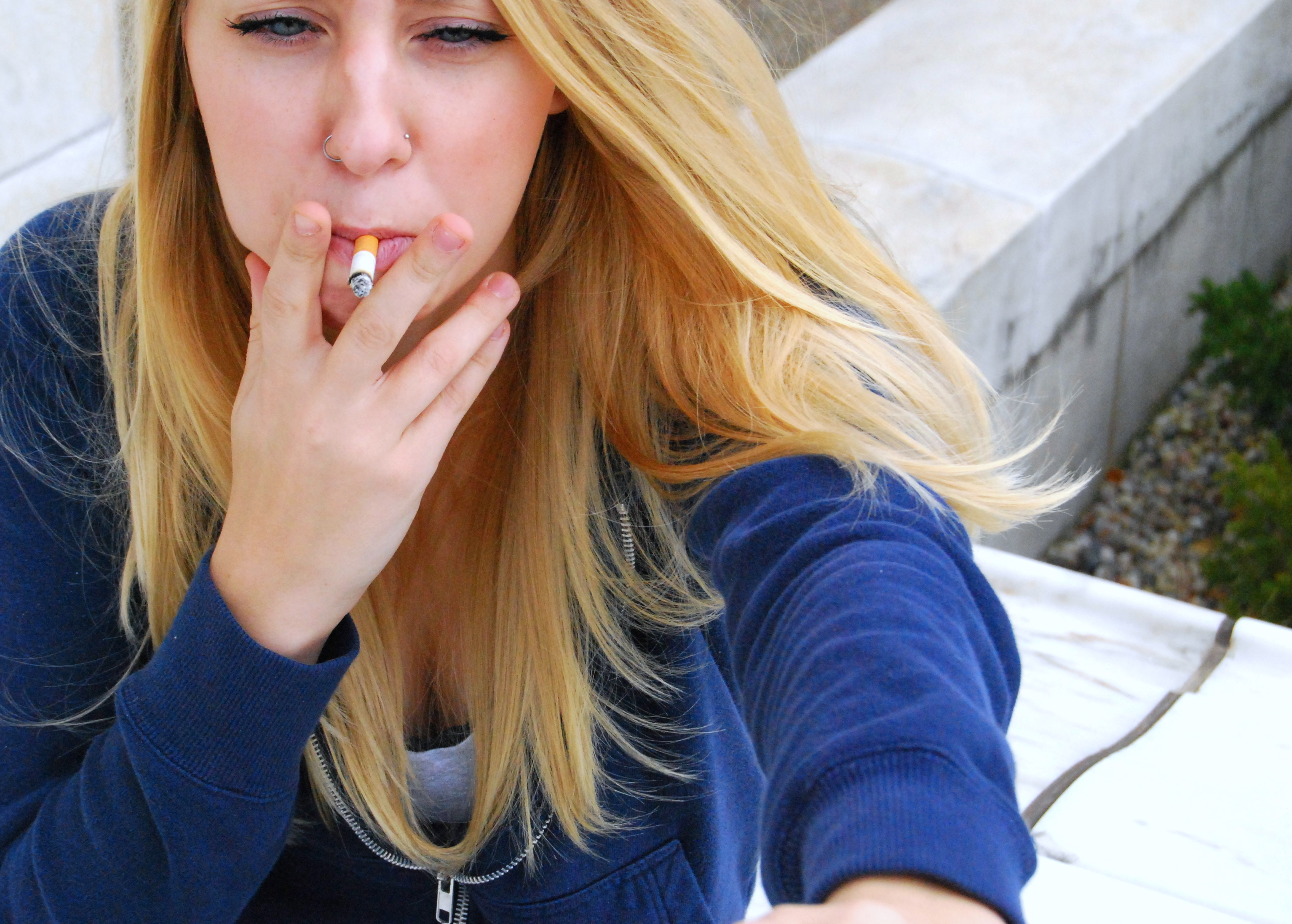Skinny blonde teen smoking this gave brice an idea break