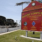 The victim was found mortally wounded at Marksmanship Training Range 214 on the grounds of the northern San Diego County Marine Corps station.