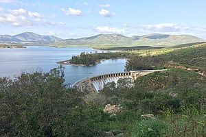 Otay Reservoir Spills Over Its Dam For The First Time Sin...