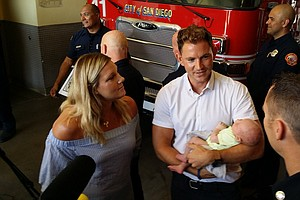Tease photo for San Diego Firefighters Who Helped Deliver A Child Receive Visit From Family