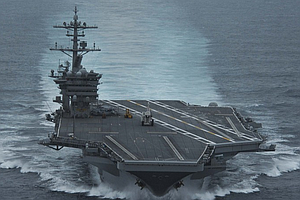 Tease photo for USS Theodore Roosevelt Deploys From San Diego, USS Bunker Hill Departure Delayed