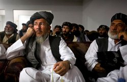 Tribal elders and provincial officials at a meeting in Kandahar.
