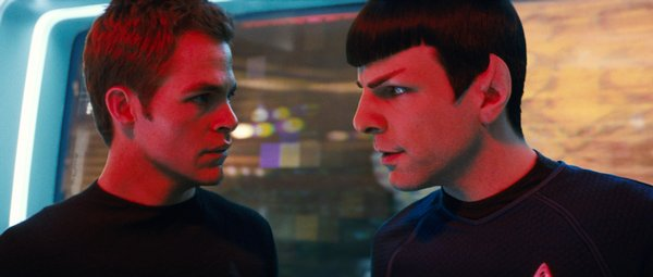 Chris Pine and Zachary Quinto as the new and younger Kirk and Spock in J.J. Abrams' Star Trek