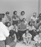 Cesar Chavez, along with farmworkers, speaks to students at San Diego State University.