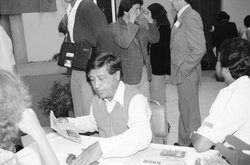 Cesar Chavez at a United Domestic Workers Union fundraiser c.1980.