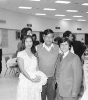 "Cesar Chavez with Juan ""Johnny"" Lopez and Berlinda Luna Phillips."