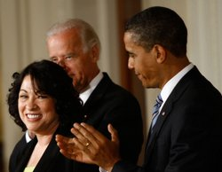 U.S. President Barack Obama announces United States Court of Appeals for the Second Circuit Judge Sonia Sotomayor (L) of New York as his Supreme Court nominee as Vice President Joe Biden (C) watches at the White House May 26, 2009 in Washington, DC. If confirmed, Sotomayor will be the first Hispanic Supreme Court Justice in the nation's history, replacing Supreme Court Justice David Souter.