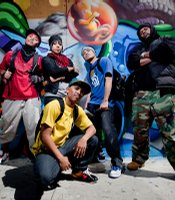 Graffiti Life dance crew: David Henry, Angela Molton, Jeremy Mascardo, David Silvas and Sherman Shoate in Barrio Logan in front of Crol vs Werc mural.