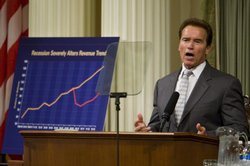 Gov. Arnold Schwarzenegger speaks to a joint session of the Legislature at the State Capitol June 2, 2009 in Sacramento, California.