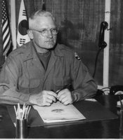 "United States Army Lieutenant General Williston B. Palmer.  Caption written by William Orcutt, ""The 'lovable' old gentleman himself; 'Willie' as he's known at Signal Corps command post (Lt. Gen. Williston B. Palmer) June, 1952"""