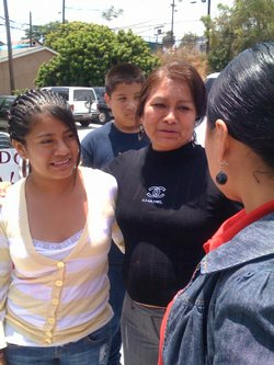Stephanie Jimenez and her mom greet a well wisher. Stephanie returned to San ...