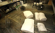 Styrofoam body parts of Michelangelo's David.  These will be cleaned in sections during the play.